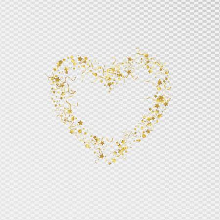Gold Ribbon Decoration Vector Transparent Background. Abstract Spiral Design. Star Falling Invitation. Golden Celebrate Plant.