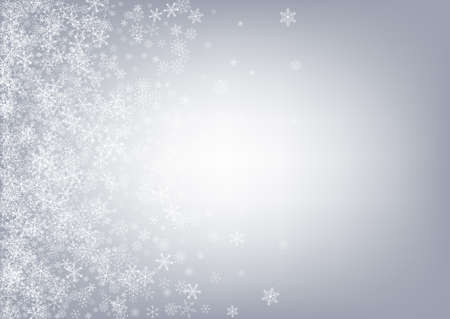 Silver Snowfall Vector Gray Background. Holiday Snowflake Backdrop. Gray Fantasy Card. New Snow Illustration.