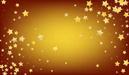 Yellow Effect Stars Vector Brown Background. Light Glitter Wallpaper. Starry Background. Gold Falling Sky Banner. Ilustração