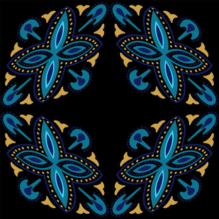 Blue and Gold Geometry Oriental Ornament Vector Seamless Pattern. Old Victorian Tile. Indigo Arabesque Floral Background.