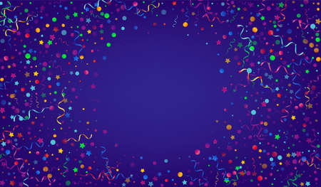 Bright Serpentine Swirl Vector Blue Background. Christmas Particles Design. Confetti Isolated Plant. Red and Yellow Festive Illustration. Ilustracja