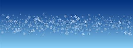 Silver Snowfall Vector Blue Background. Light Snow Transparent. White Xmas Holiday. Fantasy Snowflake Banner.