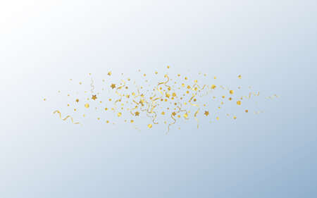 Golden Ribbon Christmas Vector Gray Background. Carnival Serpentine Design. Confetti Flying Branch. Gold Happy Template. Ilustracja