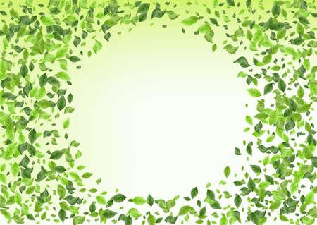 Swamp Greenery Blur Green Background Banner. Spring Leaves Pattern. Forest Foliage Ecology Illustration. Leaf Flying Poster.