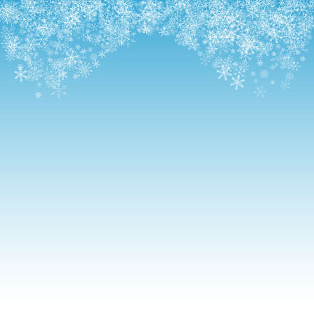 Silver Snow Vector Blue Background. Holiday Snowflake Backdrop. White Christmas Banner. Falling Snowfall Holiday.