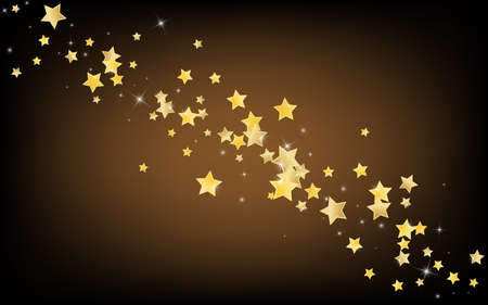 Gold Christmas Stars Vector Brown Background. Xmas Dust Illustration. Sparkle Pattern. Golden Galaxy Universe Background.