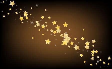 Gold Christmas Stars Vector Brown Background. Xmas Dust Illustration. Sparkle Pattern. Golden Galaxy Universe Background. Zdjęcie Seryjne - 157474663