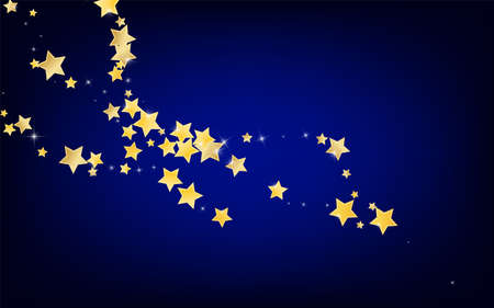 Yellow Elegant Stars Vector Blue Background. Xmas Shine Pattern. Universe Template. Gold Effect Space Texture. Ilustracja