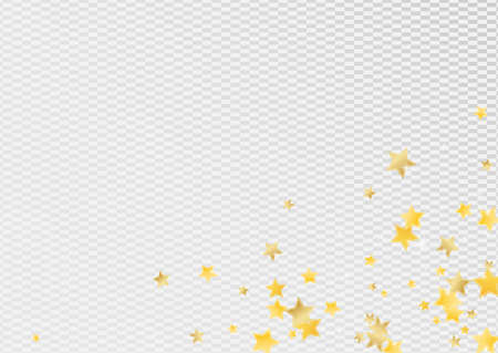 Gold Luxury Stars Vector Transparent Background. Falling Sky Texture. Shine Banner. Yellow Bright Starry Illustration. Zdjęcie Seryjne - 157476658