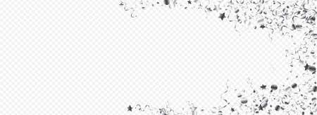 Silver Streamer Isolated Vector Panoramic Transparent Background. Abstract Confetti Design. Serpentine Carnival Invitation. Silver Celebrate Poster.