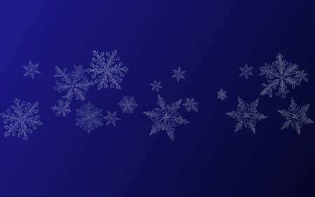 White Snowflake Vector Blue Background. Sky Snowfall Pattern. Silver Winter Banner. magic Snow Design. Zdjęcie Seryjne - 157477030