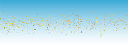 Golden Ribbon Flying Vector Panoramic Blue Background. Christmas Confetti Plant. Spiral Abstract Poster. Gold Falling Branch. Ilustracja