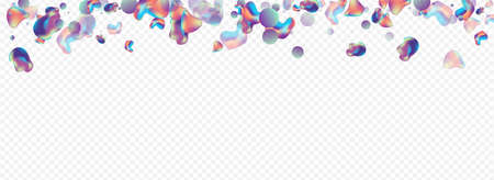 Neon 3d Hipster Vector Panoramic Transparent Background. Fashion Bubbles Illustration. Iridescent Modern Blob Layout. Color Gradient Placard. Vettoriali
