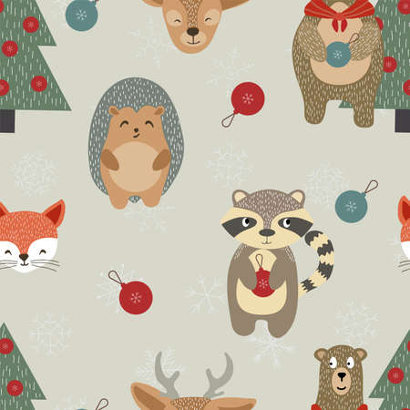 Holiday Character Vector Seamless Pattern. Reindeer and Raccoon Cute Wallpaper. Happy Deer and Fox Texture. Drawing Print.