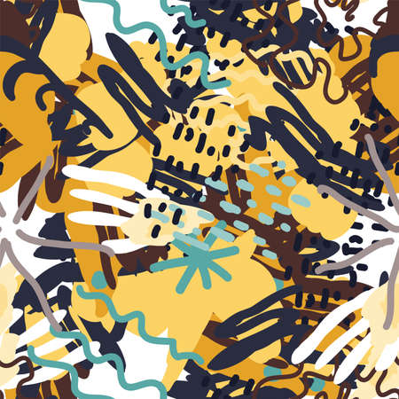 Bright Shape Artistic Vector Seamless Pattern. African Element Collage. Motley Artist Print. Spring Drawing Illustration.