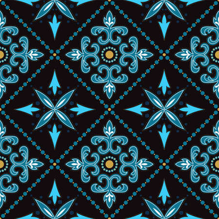 Turquoise and Yellow Illustration Oriental Ornament Vector Seamless Pattern. Vintage Motif Texture. Indigo Spanish Fabric Background.