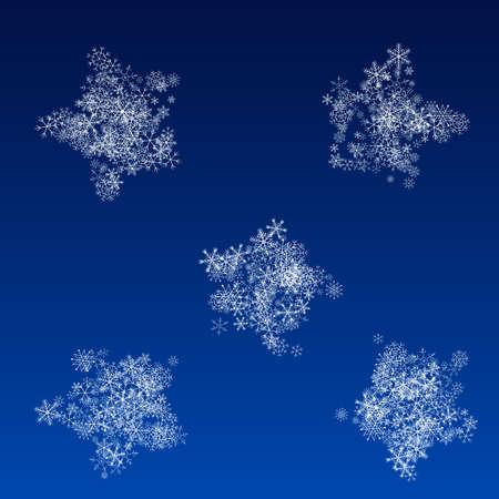 Silver Snowfall Vector Blue Background. Light Snowflake Transparent. White Fantasy Card. magic Snow Banner.