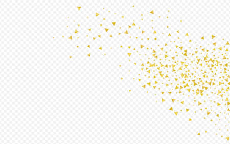 Yellow Rain Isolated Transparent Background. Glamour Sequin Illustration. Gold Dust Anniversary Wallpaper. Shards Vector Design.