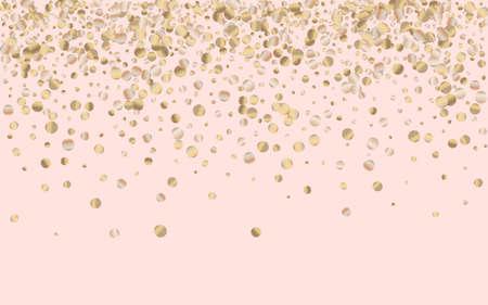Gold Splash Vector Pink Background. Anniversary Sequin Wallpaper. Bronze Circle Light Pattern. Dust Modern Invitation. Ilustracja
