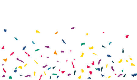 White Confetti Fun White Background. Flying Colored Paper Pattern. FallingFestive Elements Banner. Yellow Particles Transparent Backdrop. Vettoriali