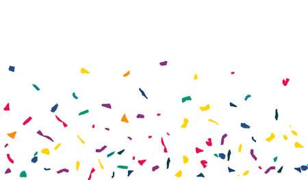 White Confetti Fun White Background. Flying Colored Paper Pattern. FallingFestive Elements Banner. Yellow Particles Transparent Backdrop. Vektoros illusztráció