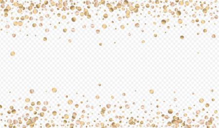 Gold Round Effect Transparent Background. Art Sparkle Card. Bronze Dot Bridal Wallpaper. Circle Paper Background.