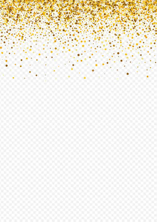 Golden Dust Anniversary Transparent Background. Abstract Rain Backdrop. Gold Round Holiday Invitation. Confetti Christmas Design.