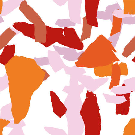 Yellow and Terracotta Terrazzo Wall Vector Seamless Pattern. Pebble Terrazzo Tile Banner. Brown and Orange Modern Wallpaper.