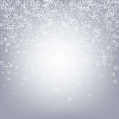 Gray Snow Vector Gray Background. Abstract Snowflake Design. White Xmas Illustration. Sky Snowfall Transparent. Vettoriali