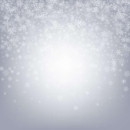 Gray Snow Vector Gray Background. Abstract Snowflake Design. White Xmas Illustration. Sky Snowfall Transparent. Ilustração Vetorial