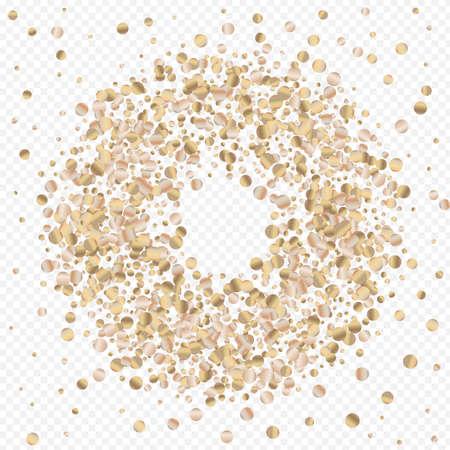 Bronze Round Anniversary Transparent Background. Modern Dust Invitation. Gold Glow Shiny Postcard. Shine Luxury Backdrop. Иллюстрация