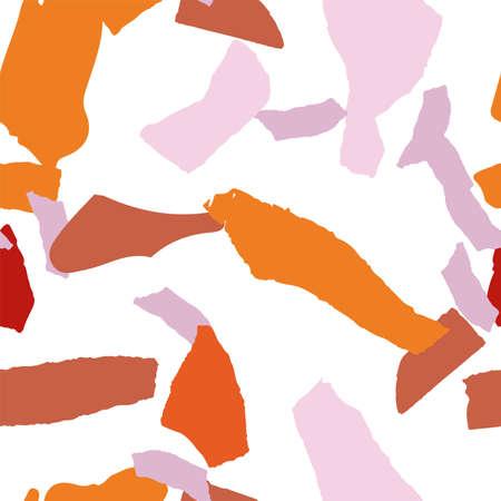 Bright Terrazzo Tile Vector Seamless Pattern. Fashion Terrazzo Wall Wallpaper. Yellow and Terracotta Graphic Postcard.