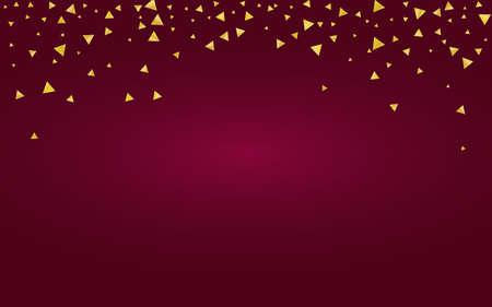 Golden Glow Holiday Burgundy Background. Falling Sparkle Background. Gold Shards Glamour Banner. Sequin Luxury Postcard.