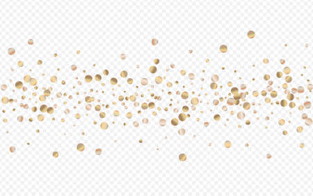 Gold Sparkle Christmas Transparent Background. Isolated Circle Pattern. Yellow Dust Modern Texture. Glow Paper Banner.
