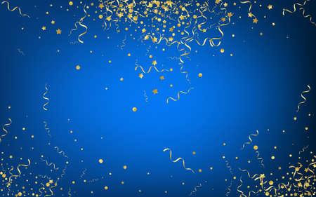 Golden Star Happy Vector Blue Background. Paper Ribbon Invitation. Streamer Decoration Plant. Gold Falling Poster.