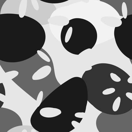 Black and White Drawing Cartoon Vector Seamless Pattern. Bright Mosaic Design. Monochrome Artistic Wallpaper.  Shapes Modern Background.