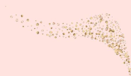 Gold Polka Holiday Pink Background. Effect Glow Invitation. Bronze Dust Golden Banner. Dot Bright Background.