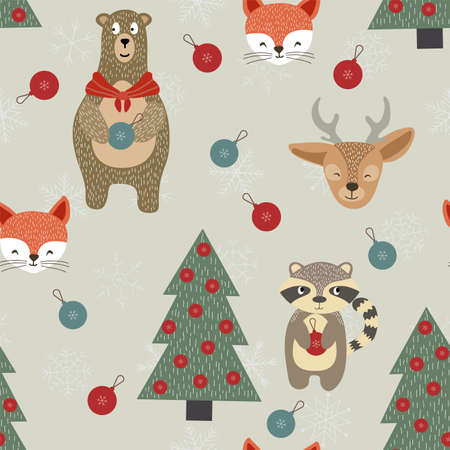 Winter Deer and Fox Vector Seamless Pattern. Christmas Toytree and Snowflake Merry Texture. Fabulous Reindeer and Raccoon Wallpaper. Holiday Design. Vecteurs