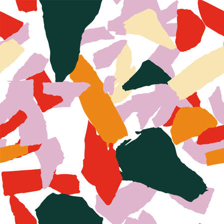 Gray and Yellow and Red Terrazzo Wall Vector Seamless Pattern. Geometric Terrazzo Tile Texture. Peach and Orange Pebble Background.