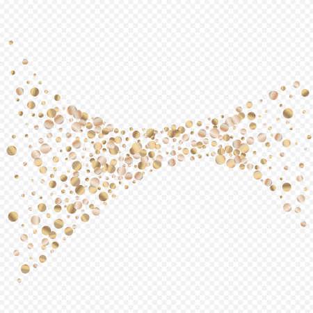 Gold Confetti Bright Transparent Background. Modern Sequin Background. Yellow Rain Rich Backdrop. Dot Bridal Texture.