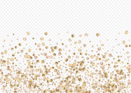 Gold Shine Modern Transparent Background. Golden Splash Backdrop. Golden Circle Falling Texture. Dust Isolated Postcard.