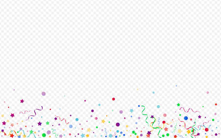Red and Yellow Serpentine Carnival Vector Panoramic Transparent Background. Anniversary Circles Branch. Confetti Celebration Illustration. Variegated Festive Template.