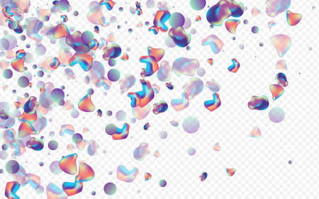 Neon Bubble Graphic Vector Transparent Background. Minimal Holography Flyer. Color Geometric Fluid Layout. Holographic Organic Illustration.