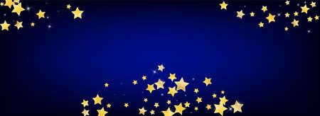 Yellow Galaxy Stars Vector Blue Background. Graphic Glitter Template. Shine Texture. Gold Falling Glow Illustration. Иллюстрация