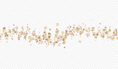 Bronze Rain Isolated Transparent Background. Paper Sparkle Pattern. Gold Polka Transparent Invitation. Circle Anniversary Card. Иллюстрация