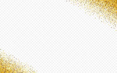 Gold Glow Isolated Transparent Background. Effect Confetti Backdrop. Golden Rain Transparent Wallpaper. Sparkle Vector Postcard. Иллюстрация