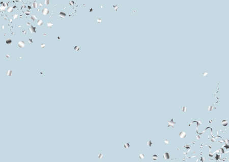 Silver Confetti Decoration Vector Blue Background. Party Star Poster. Streamer Falling Branch. Silver Christmas Invitation.