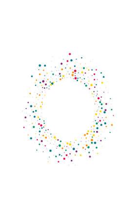 White Confetti Invitation White Background. Top Rain Design. Abstract Dot Wallpaper. Rainbow Circle Vector Card. Ilustracja