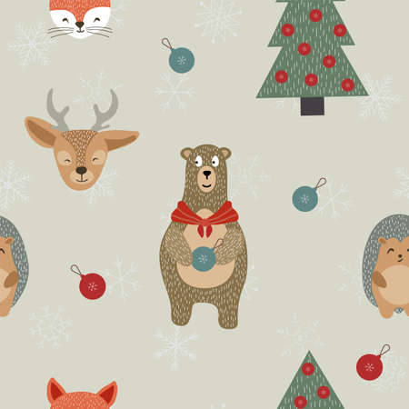 Christmas Christmas Toytree and Snowflake Vector Seamless Pattern. Reindeer and Raccoon Cute Print. Winter Deer and Fox Design. Fabulous Illustration.