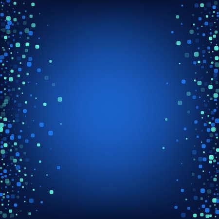 Blue Confetti Effect Blue Vector Background. Falling Square Pattern. Celebration Cell Invitation. Turquoise Decoration Design.